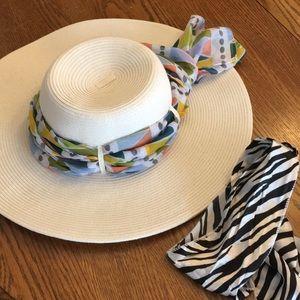 Sun hat cream 2 scarves packable fabulous combo